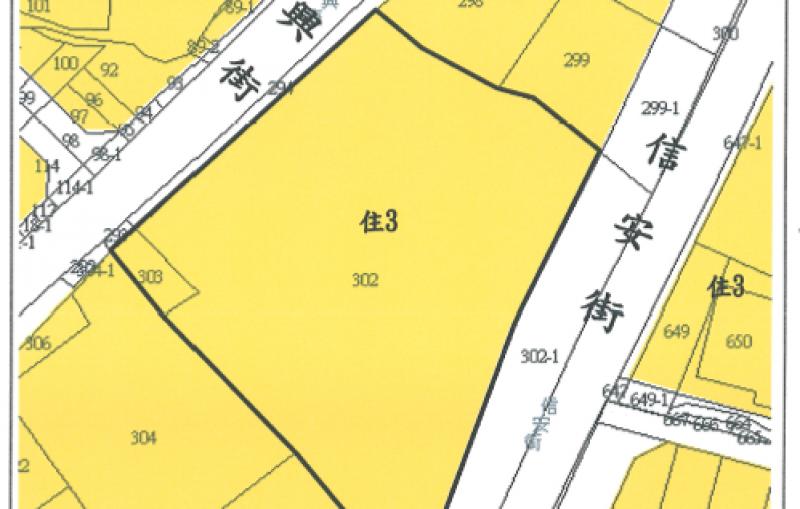臺北市信義區犁和段三小段302、303地號公有土地都市更新案土地使用分區圖