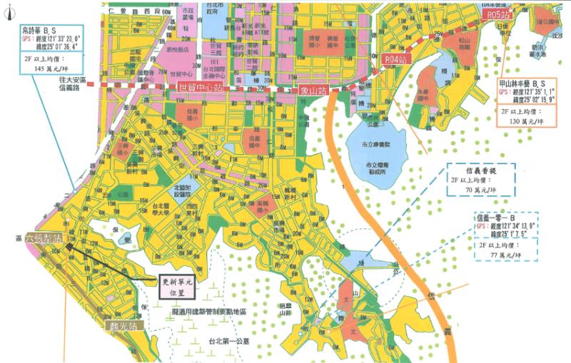 臺北市信義區犁和段三小段302、303地號公有土地都市更新案市場分析圖