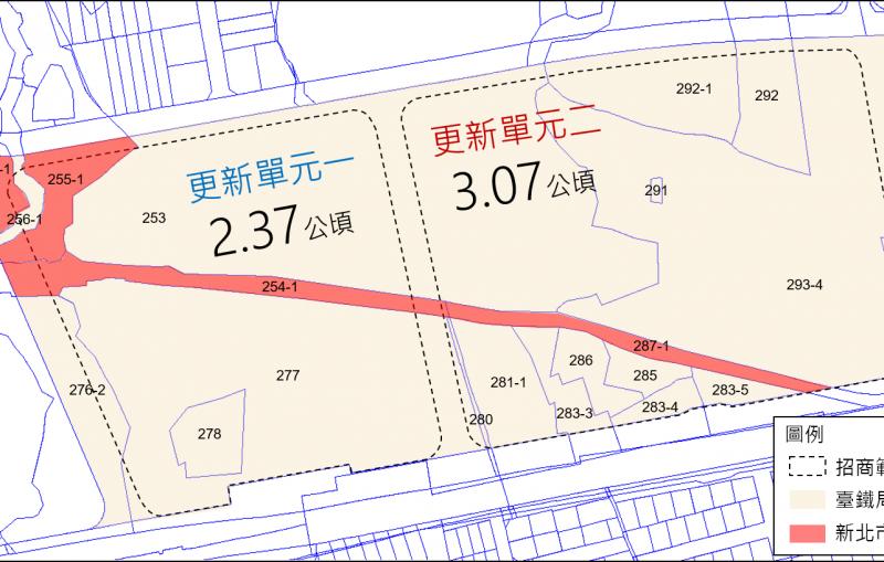 臺北市南港調車場都市更新招商開發案土地權屬分佈圖