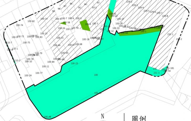 桃園市中壢區中興巷公有土地都市更新規劃招商作業土地權屬分佈圖