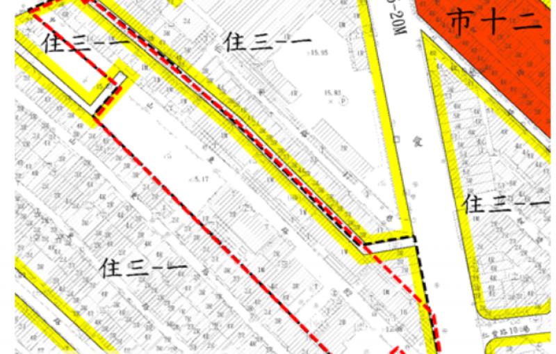 高雄捷運鳳山國中站周邊地區都市更新案土地使用分區圖