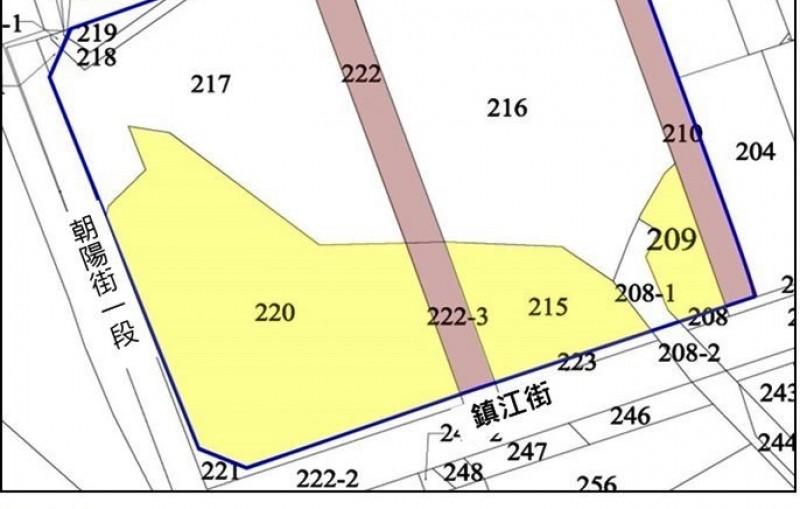 桃園市東門停車場(桃園區東門段208-1地號等14筆土地)公辦都更案土地權屬分佈圖