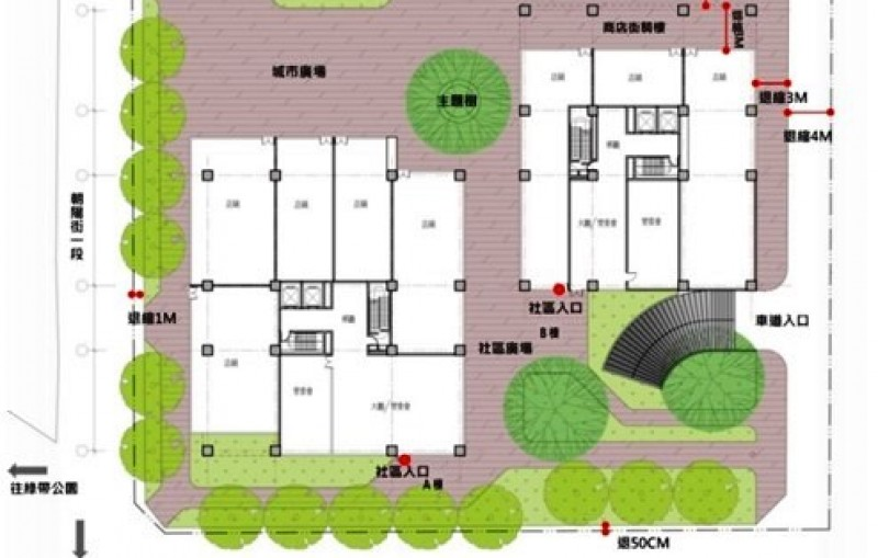 桃園市東門停車場(桃園區東門段208-1地號等14筆土地)公辦都更案初步規劃圖